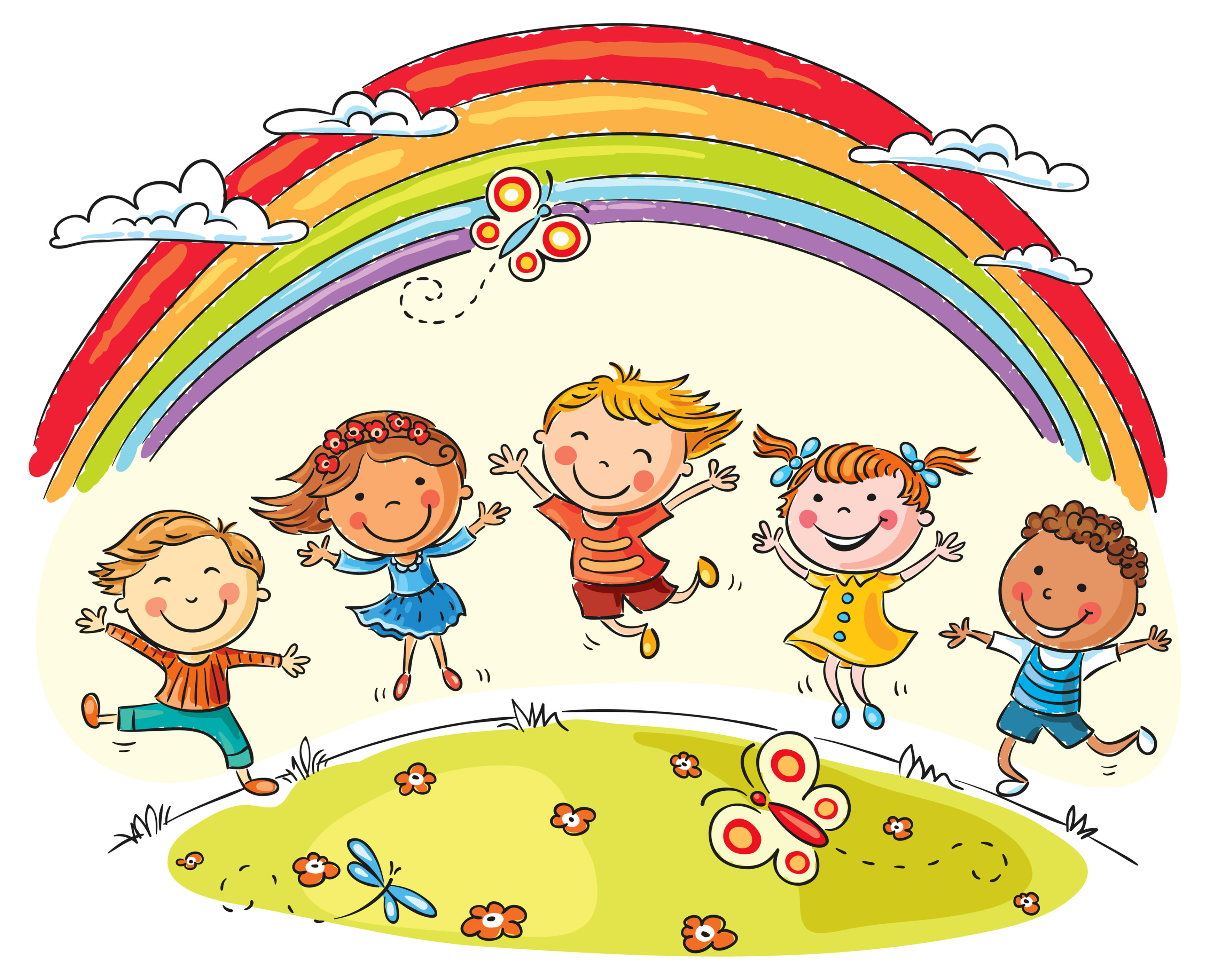 35233096 - kids jumping with joy on a hill under rainbow, colorful cartoon