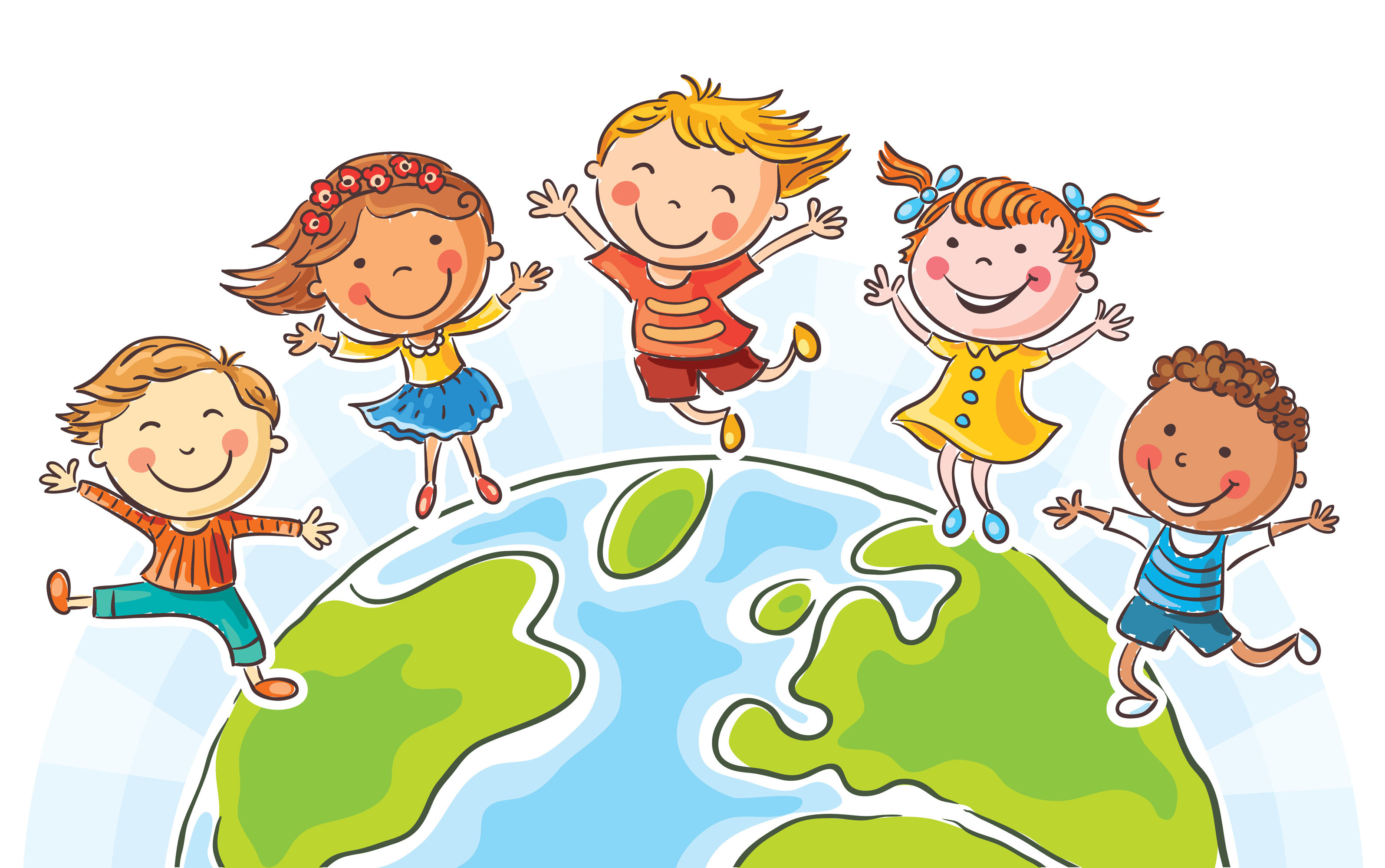 37393518 - five happy jumping kids round the globe, no gradients